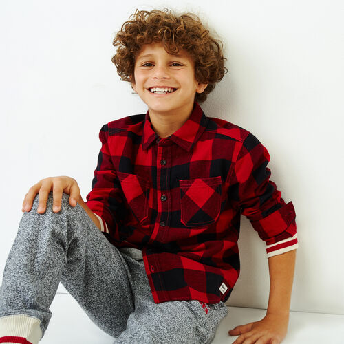Roots-Kids Our Favourite New Arrivals-Boys Park Plaid Shirt-Lodge Red-A