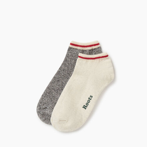 Roots-Women Socks-Womens Cotton Cabin Ped Sock 2 pack-White Grey Mix-A