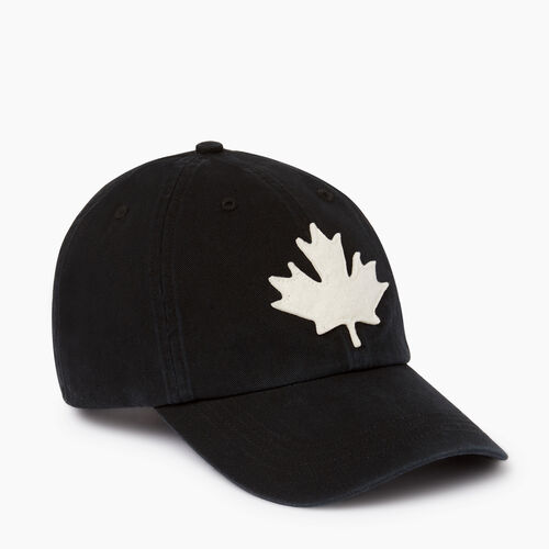 Roots-Men Accessories-Canada Leaf Baseball Cap-Black-A