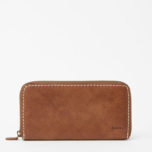 Roots-Leather Women's Wallets-Zip Around Clutch Tribe-Natural-A