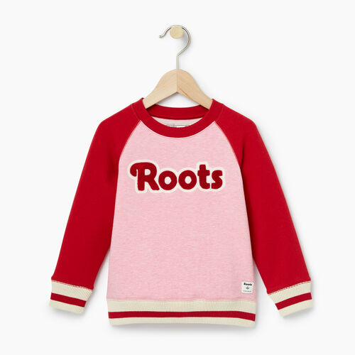 Roots-Kids Tops-Toddler Cabin Crew Sweatshirt-Sea Pink Mix-A