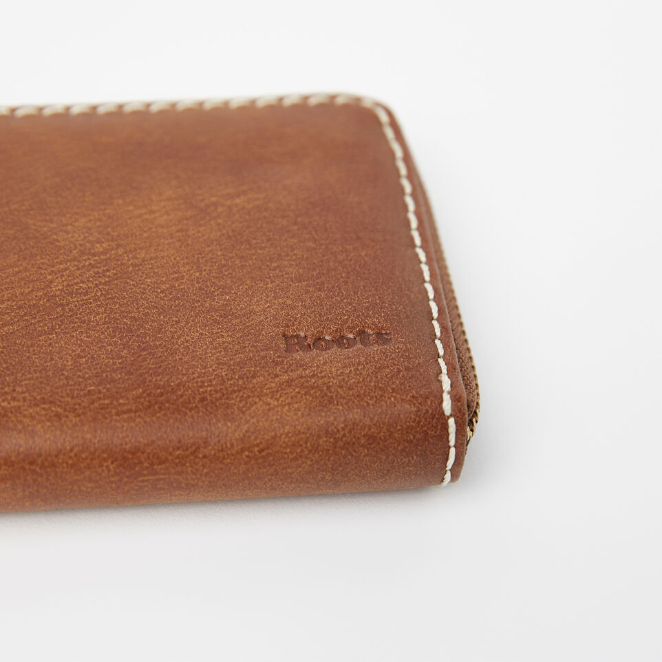 Roots-Leather Wallets-Zip Around Clutch Tribe-Natural-D