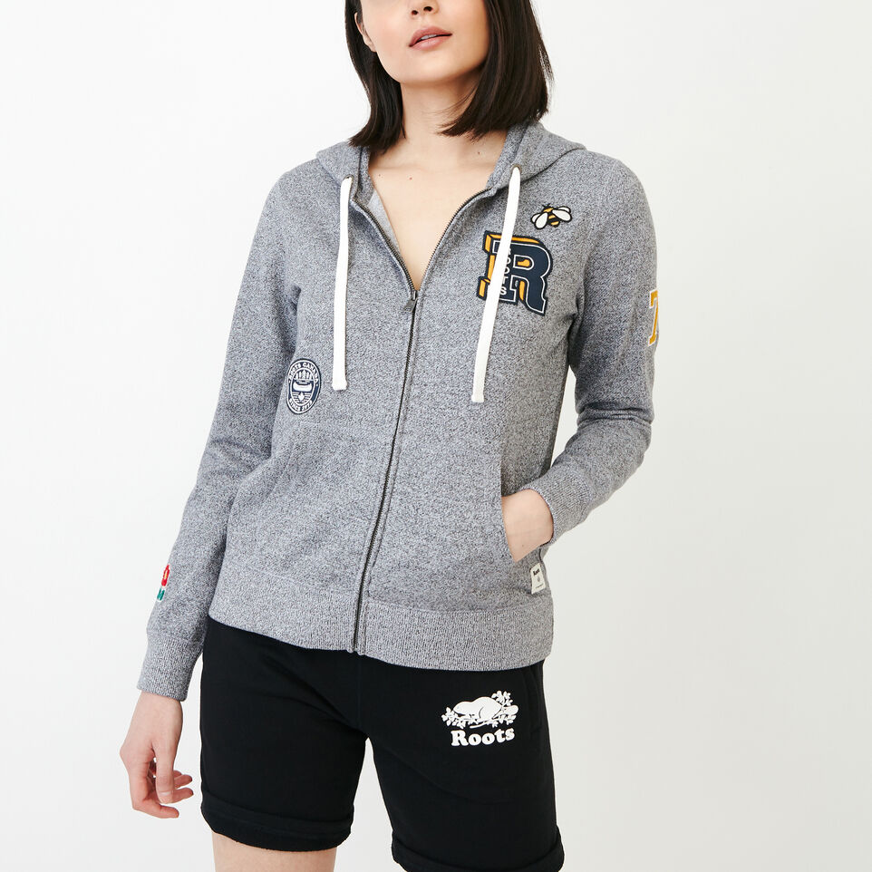 Roots-Women Our Favourite New Arrivals-Patches Full Zip Hoody-Salt & Pepper-A