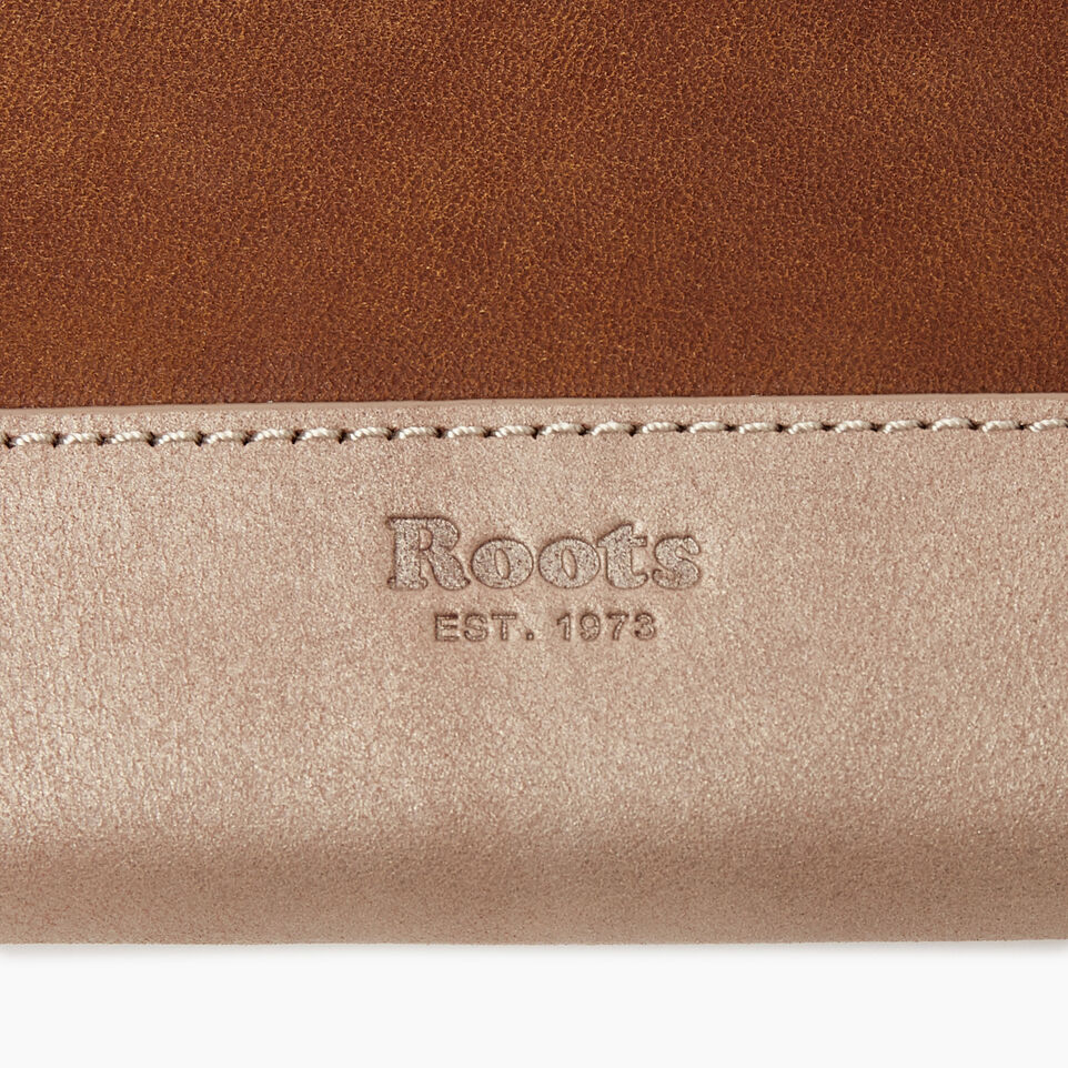 Roots-Leather  Handcrafted By Us Categories-Zip Around Wallet-Champagne/ Natural-D