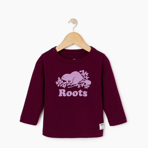 Roots-Sale Kids-Baby Original Cooper Beaver T-shirt-Pickled Beet-A
