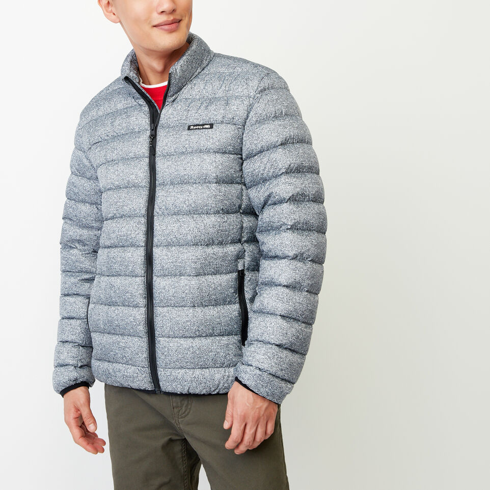 Roots-Clearance Men-Roots Packable Down Track Jacket-Salt & Pepper-A