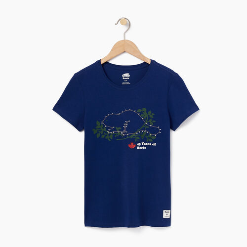 Roots-Women Graphic T-shirts-Womens Connect The Dots Slim T-shirt-Blue Depths-A