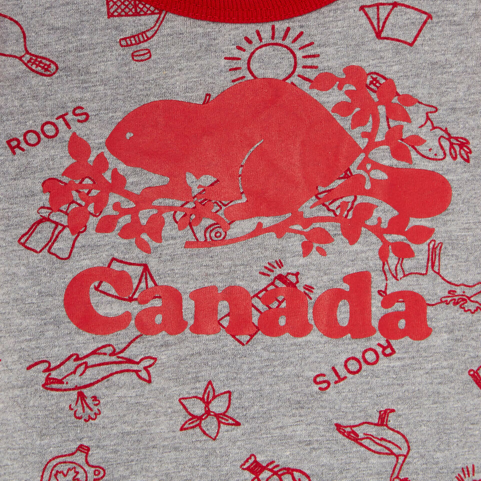 Roots-Kids Canada Collection-Baby Canada Aop Romper-Grey Mix Pepper-C