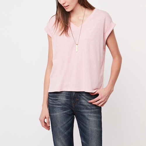Roots-Women Short Sleeve Tops-Linette Top-Silver Pink Mix-A