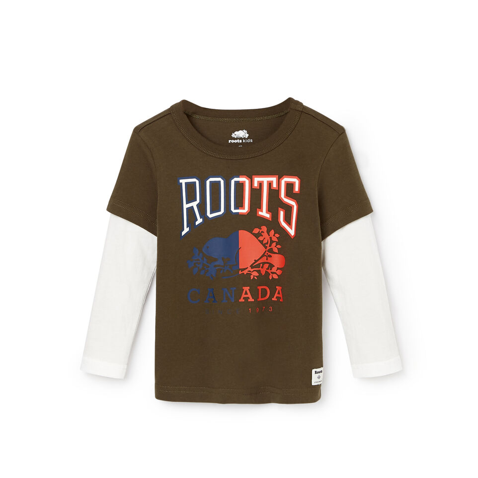 Roots-Kids Tops-Toddler Roots Classic T-shirt-Fatigue-A