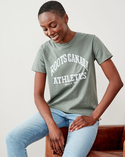 Roots-Women Tops-Womens Big Arch T-shirt-Agave Green-A
