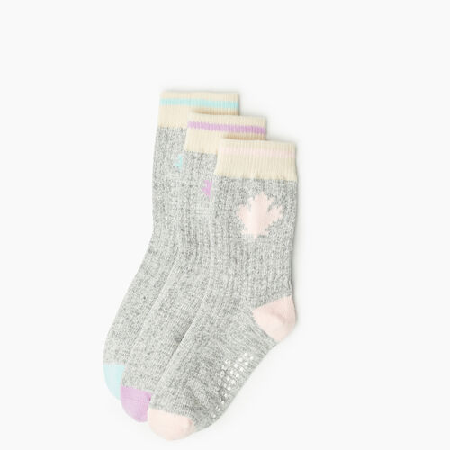 Roots-Kids Accessories-Toddler Maple Sock 3 Pack-Pink-A