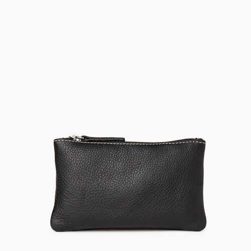Roots-Leather Leather Accessories-Medium Zip Pouch-Black-A