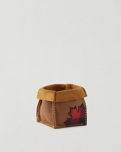 Roots-Leather Leather Accessories-Park Plaid Canada Small Basket-Natural-A