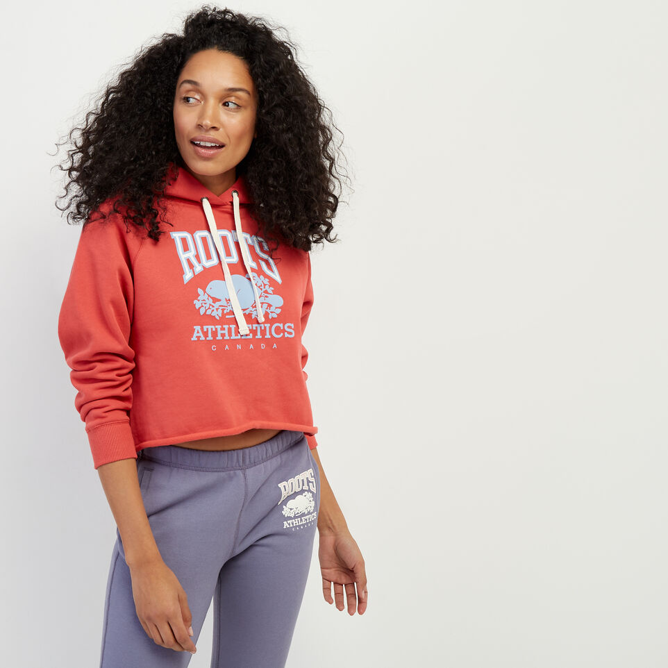 Roots-Women New Arrivals-RBA Cropped Hoody-Cranberry-A