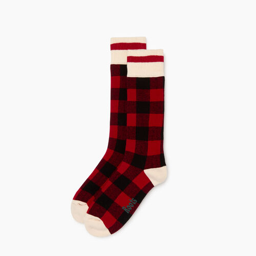 Roots-Women Socks-Womens Park Plaid Boot Sock-Cabin Red-A
