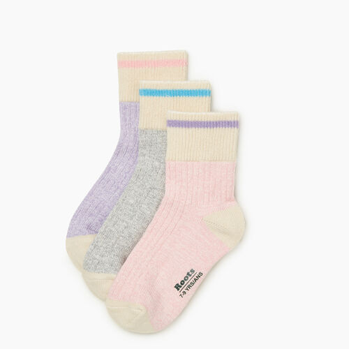 Roots-Kids Girls-Kid Cotton Cabin Ankle Sock 3 Pack-Pale Mauve Mix-A