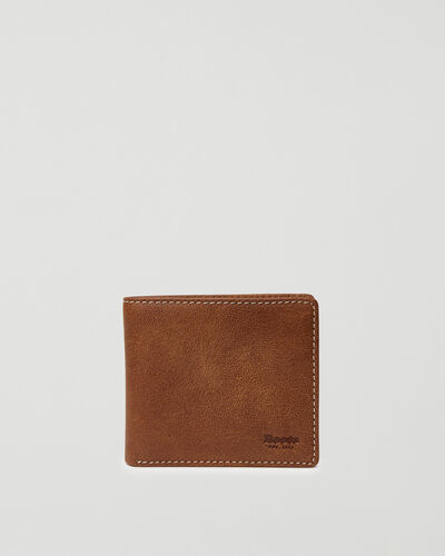 Roots-Leather Men's Wallets-Mens Slimfold Wallet With Side Flap Tribe-Natural-A