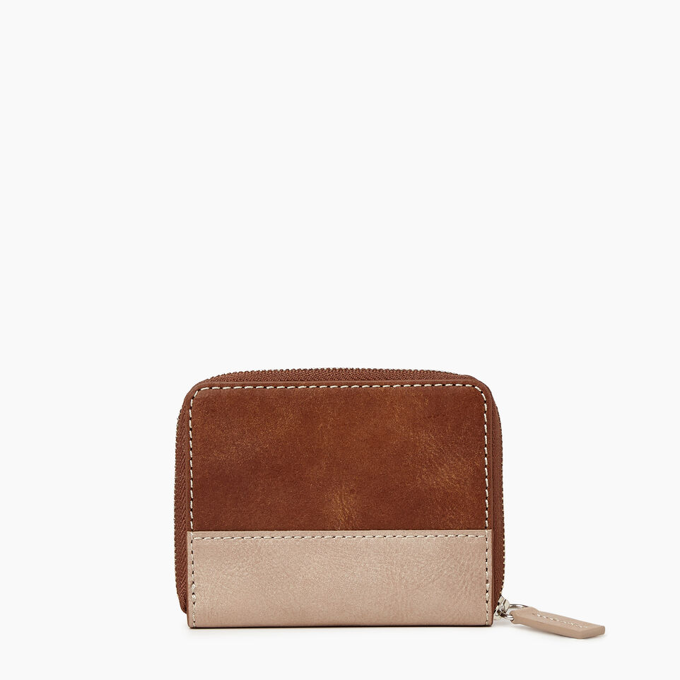 Roots-Women Categories-Small Zip Wallet-Champagne/ Natural-B