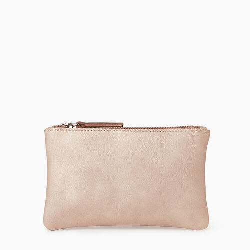 Roots-Leather Our Favourite New Arrivals-Medium Zip Pouch-Champagne-A