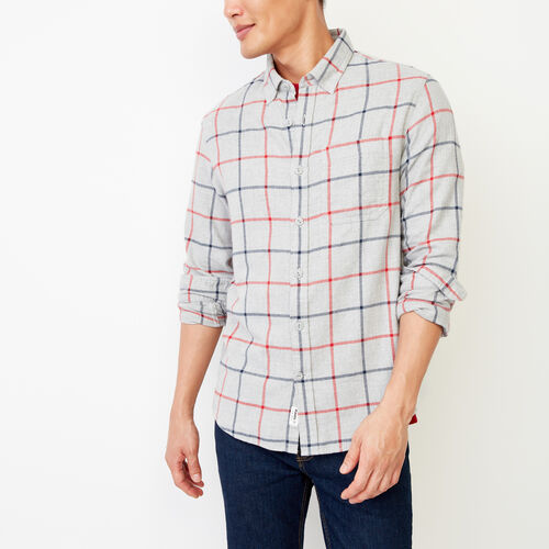 Roots-Men Tops-Nordic Flannel Shirt-Med Grey Mix-A