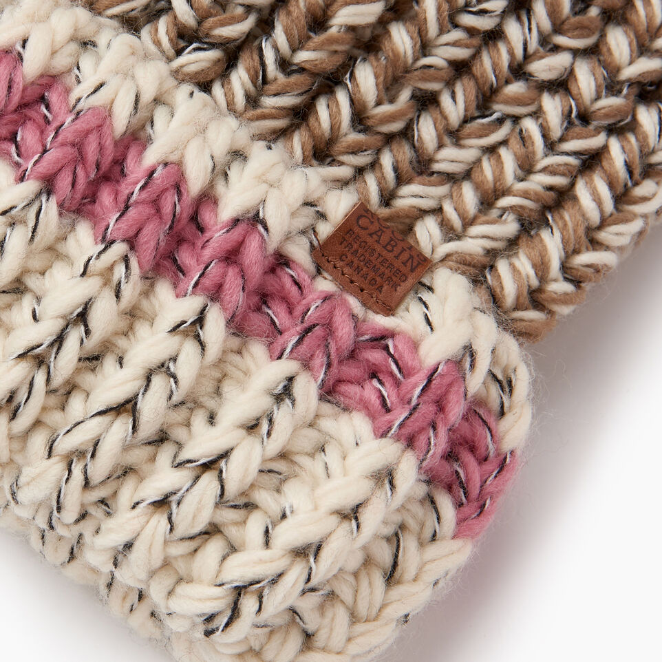 Roots-Women Hats-Chunky Cabin Pom Pom Toque-Fawn Taupe Mix-E