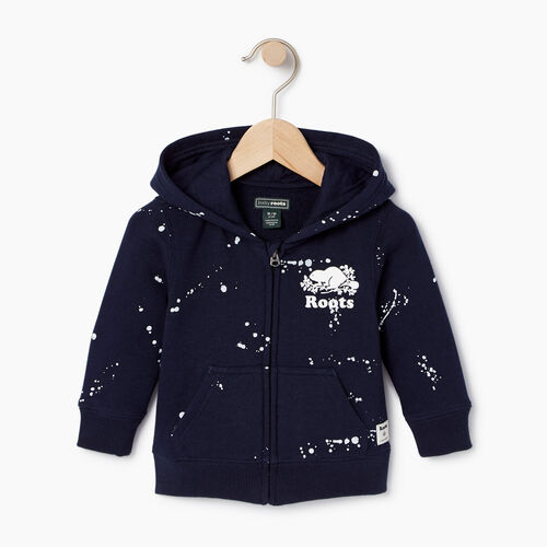 Roots-Clearance Baby-Baby Splatter Full Zip Hoody-Navy Blazer-A