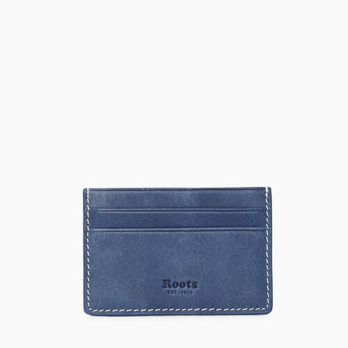 Roots-Women Leather Accessories-Card Holder Tribe-Denim Blue-A
