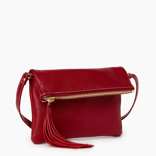 Roots-Women Mini Leather Handbags-Anna Clutch Cervino-Harvest Red-A