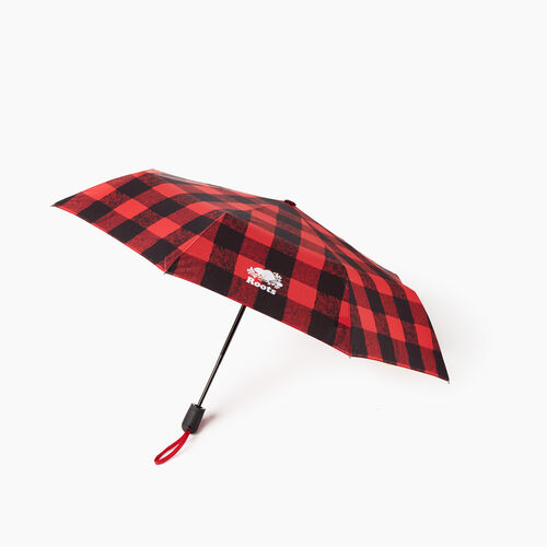 Roots-New For November General Store-Park Plaid Umbrella-Cabin Red-A