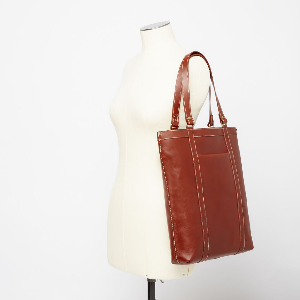 Roots-Clearance Leather-Market Tote Heritage-Oak-B