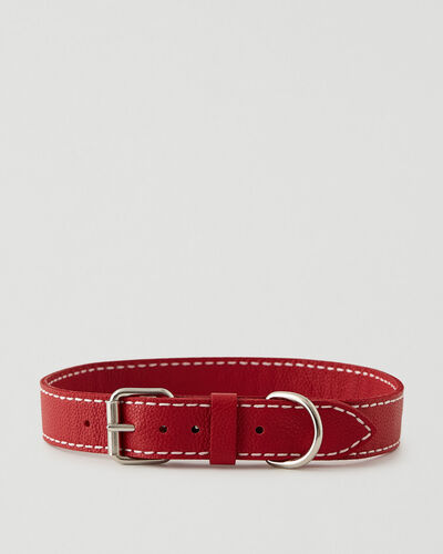 Roots-Leather Dog Accessories-Extra Large Leather Dog Collar-Lipstick Red-A