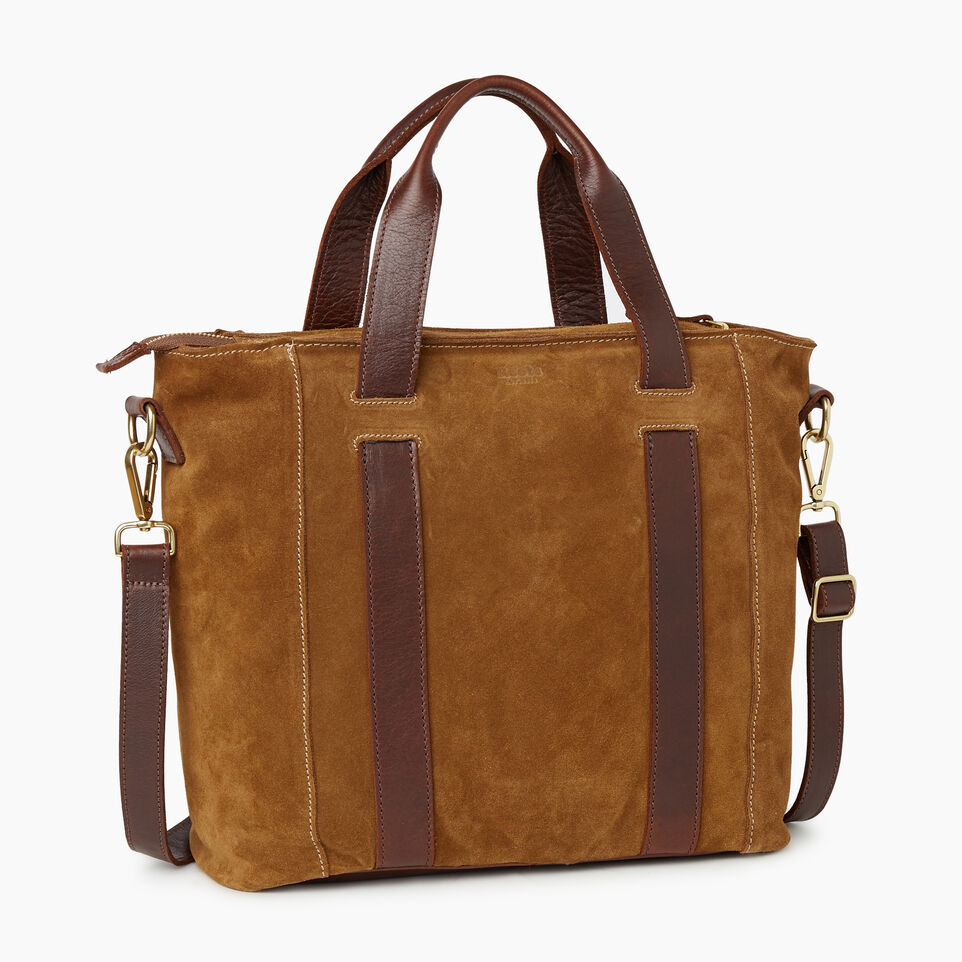 Roots-Leather Handbags-Victoria Tote Suede-Tan-C
