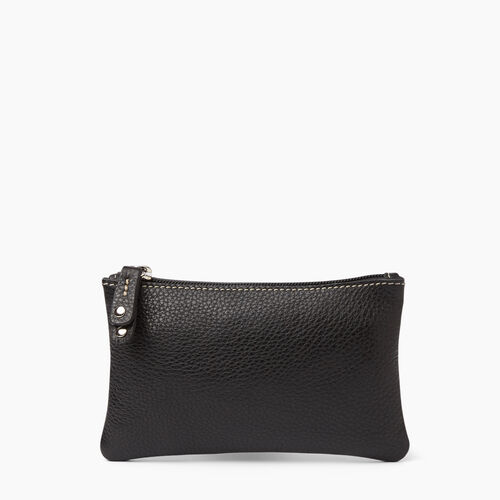 Roots-Women Leather Accessories-Medium Zip Pouch-Black-A