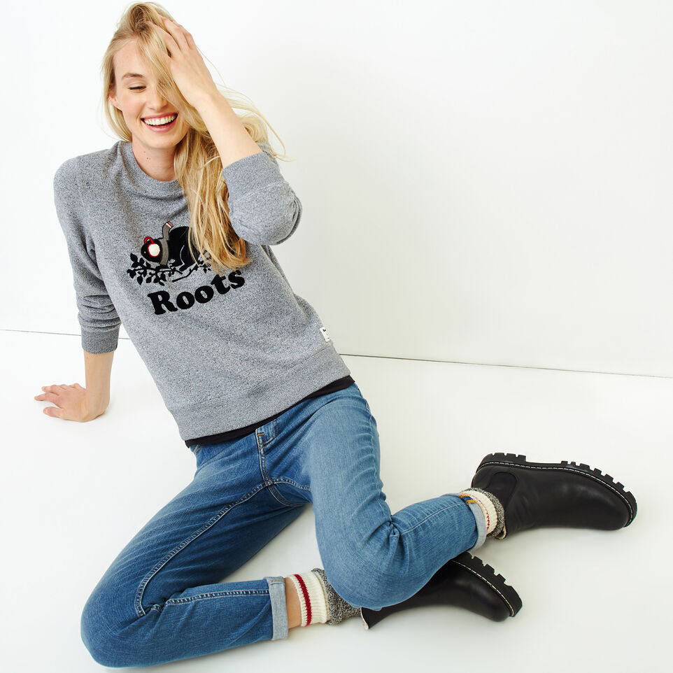 Roots-Women Tops-Buddy Cozy Crew Sweatshirt-Salt & Pepper-B