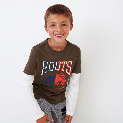 Roots-Kids Boys-Boys Roots Classic T-shirt-Fatigue-A