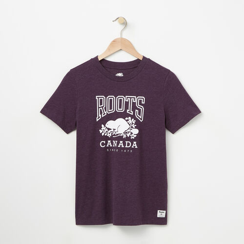 Roots-Women Graphic T-shirts-Womens Classic Roots Canada T-shirt-Night Shade Mix-A