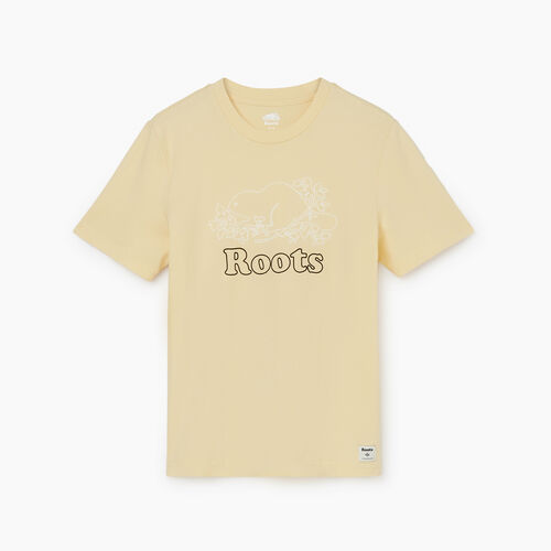 Roots-Men Graphic T-shirts-Mens Cooper Outline Slim Tee-Italian Straw-A