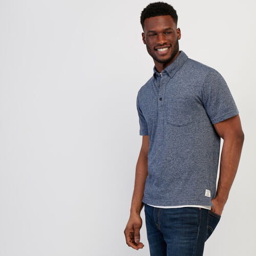 Roots-Men Clothing-Jersey Peppered Polo-Cascade Blue Pepper-A