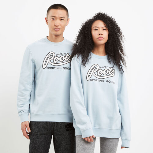 Roots-New For May Women-Roots Sporting Goods Crew Sweatshirt-Celestial Blue-A