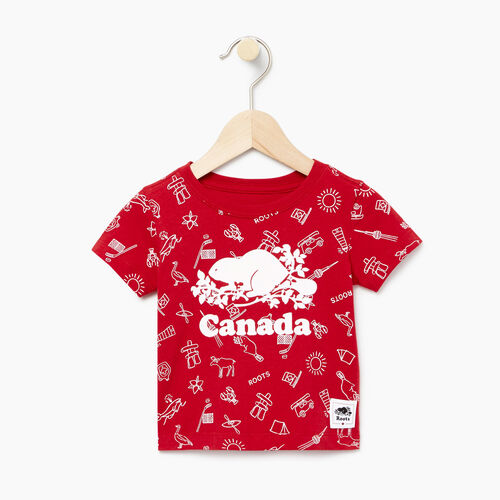 Roots-Kids Baby Girl-Baby Canada Aop T-shirt-Sage Red-A