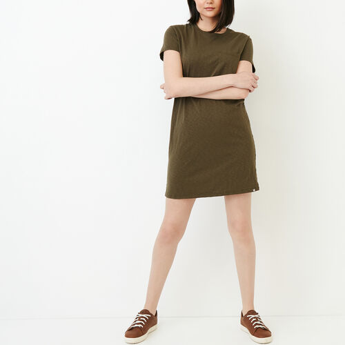 Roots-Clearance Women-Madeira Pocket Dress-Fatigue-A