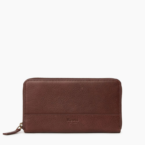 Roots-Leather Our Favourite New Arrivals-Zip Around Wallet-Cognac-A