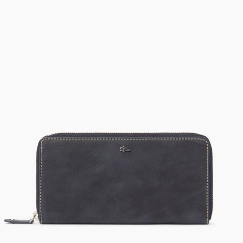 Roots-Winter Sale Leather-Zip Around Wallet Tribe-Dark Navy-A
