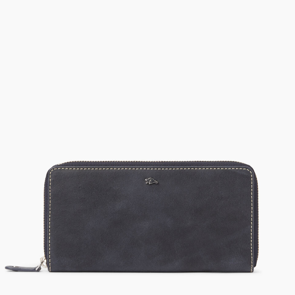 Roots-Clearance Leather-Zip Around Wallet Tribe-Dark Navy-A