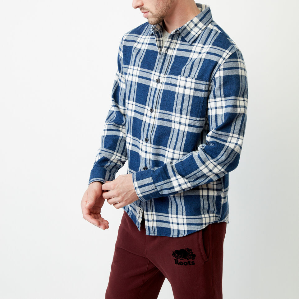 Roots-Men Shirts & Polos-Northlands Flannel Shirt-Active Blue-C