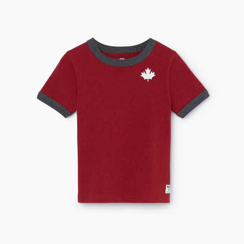 Roots-Kids Tops-Toddler Canada Ringer T-shirt-Cabin Red Mix-A