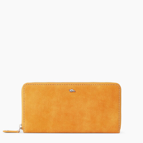 Roots-Leather  Handcrafted By Us Wallets-Zip Around Wallet Tribe-Sunset Yellow-A