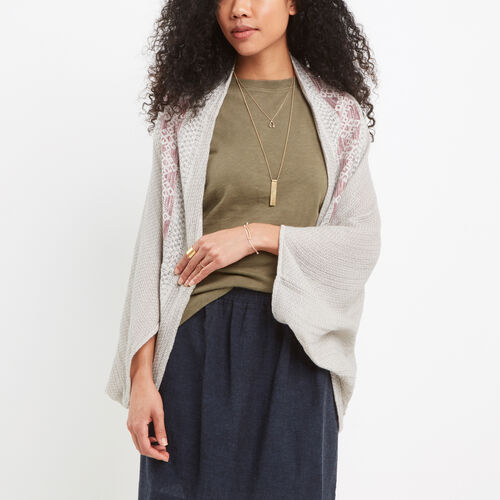 Roots-Women Scarves & Wraps-Leigh Cocoon-Grey Mix-A