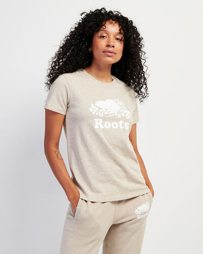 Roots-Women Bestsellers-Womens Cooper Beaver T-shirt-Flaxseed Mix-A